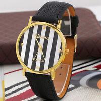 Luxury Geneva Stripes Print PU Leather Woman Man Analog Quartz Wrist Watch Black