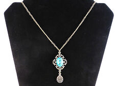 Ladies Antique Style Large Statement Piece Bright Blue Gem Necklace