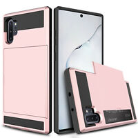 For Samsung Galaxy Note 10+ Plus 5G Armor Case Cover + Card Wallet Holder Slot