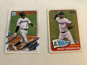 2 Card Rookie Lot Jazz Chisholm 70 Years Topps RC -  Baseball Series 2 2021 SP