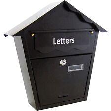 Grande Acciaio Nero POST lettera posta casella chiudibili con chiavi Outdoor WALL MOUNTED