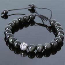 Men's Women Braided Bracelet Black Obsidian Sterling Silver Bead DIY-KAREN 826