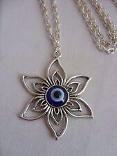 "A Lucky Blue Against Evil Eye Success Flower Charm Jewish 30"" Necklace KABBALAH"