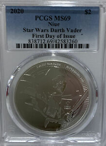 2020 Niue Star Wars Darth Vader PCGS MS69 First Day Of Issue 42583260