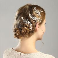 Wedding Bridal U-shaped Crystal Pearl Hair Pins Clip Side Combs Hair Accessories