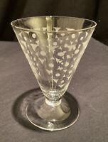TALL VINTAGE ART DECO ETCHED GLASS TUMBLER BAR COCKTAIL WINE LIQUEUR PARTY FUN