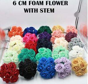 Artificial 6CM Flowers Foam Roses with stem Wedding Bride Bouquet Party