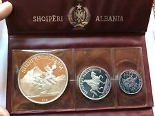 1968 Albania 3 Coin Silver Proof Set in original wallet.