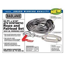 ATV UTV Synthetic Winch Rope & Fairlead Kit w/ Clevis Hook BADLAND