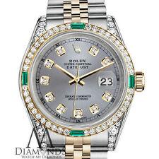 Ladies Rolex 18k & Gold 31mm Datejust Grey Diamond Dial with Emerald Watch RT