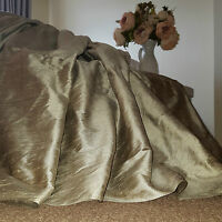 """NEW! Huge Long 100% Pure Silk Mercury Pair 93""""D 50""""W Cotton Lined Bay Curtains"""