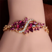 1 pc Leaf Gold Plated Charm Women Rhinestone Crystal Bangle Bracelet Jewelry New