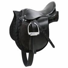 Kerbl Haflinger Set Sella Cavallo equitazione inglese in Pelle Nera 32285