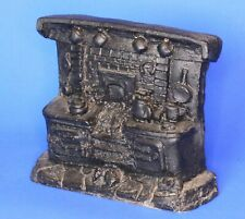 Handcrafted carved from British coal - Cottage fire & hearth, W: 10cm [20784]