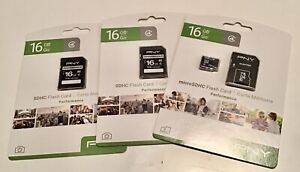 2 SDHC Flash Cards, 1 Micro SDHC Flash Card 48GB Total! BRAND NEW! PNY