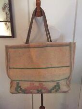 Vintage TOTE Purse Suitcase Rug Leather Handles Western BAG Santa Fe