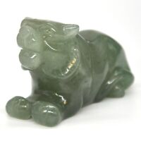 "2.5"" Tiger Figurine Green Aventurine Crystal Healing Animal Stone Carving Decor"