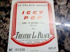 Iggy Pop,used concert ticket, Paris,13/12/1982,Le Palace Theatre