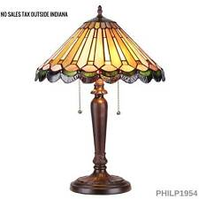 Tiffany Style Victorian 2-light Bronze Table Lamp Brown Green Stained Glass