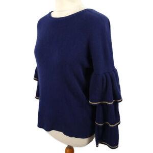 Biba Size 8 10 Blue Tiered Sleeved Zip Back Embellished Sleeve Flamenco Jumper