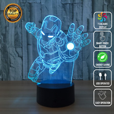 Iron Man Avengers Marvel 3D Acrylic LED 7 Colour Night Light Touch Table Lamp