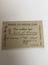 1945 Queens Ice Skating Club Monthly Pass Historical Collectible
