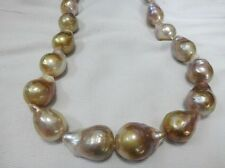 HUGE 18MM NATURAL Aus. SOUTH SEA GENUINE GOLD LAVENDER NUCLEAR PEARL NECKLACE