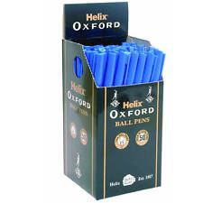 10 X HELIX OXFORD BALL POINT PENS, STATIONERY OFFICE SCHOOL (BLUE)