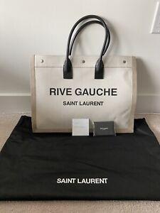 Saint Laurent Rive Gauche Canvas & Leather Tote Bag Women's White