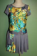 Nine West Dress Gray Floral Drop Waist Floral Pleated Skirt Stretch Sz 8 EUC