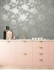 Superfresco Taupe Fiorella Suede textured Floral Wallpaper