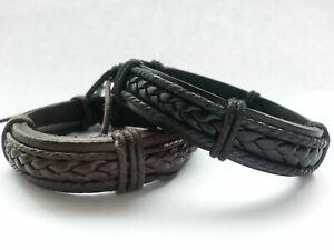 Mens leather braided surfer wristband bracelet