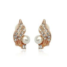 18K ROSE GOLD PLATED GENUINE CUBIC ZIRCONIA AND WHITE PEARL CLIP-ON  EARRINGS