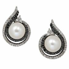 Sterling Silver 8mm FW Pearl & 0.28 Carat Genuine White/Black Diamond Earrings