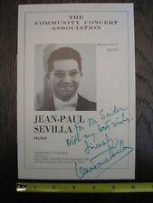 Classical Music Performer Signature Autograph Jean-Paul Sevilla Pianist Concert
