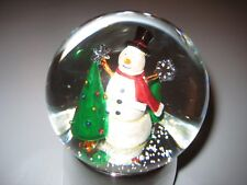 Towle Silversmiths Musical Snow Globe Snowman Puts a Star On the Tree