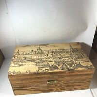 Vintage Wooden Hinged Keepsake Box Castle Scene
