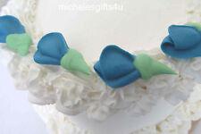 80 - Teal Blue Rosebuds Royal Sugar Icing  Decorating Fondant Gum Paste Cakes