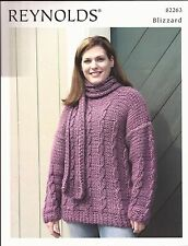 Easy Cabled Pullover & Scarf #82263 Reynolds KNITTING PATTERN Women 40 - 52""