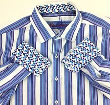 Robert Graham Men's 2XL Flip Cuff Shirt Button Down Blue White Stripe
