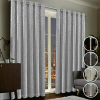 Silver Grey Eyelet Curtains Thick Thermal Blackout Ring Top With 2 Tie Backs
