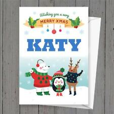 Personalised Xmas Christmas card any name childs name
