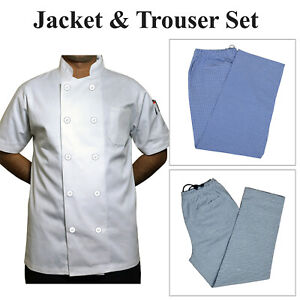 Chef Jackets White Plastic Buttons & Gingham Check Trousers Combo Crazy Price UK