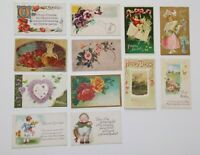 LOT OF 23 GREETINGS ANTIQUE  POSTCARDS MAINLY FLOWERS & SOME LARGE LETTER