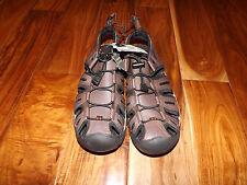 NEW Mens EDDIE BAUER Brown Black Genuine Leather Cinch Cord Sandals Shoes Sz 9