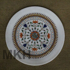 Marble Plate Serving Inlay Stones Fine Christmas Gifts Platter Decor Vintage Art