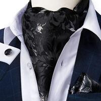 Mens Luxury Black Cravat Silk Ascot Scarf Neck Tie Pocket Square Cufflinks Set