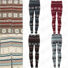 New Ladies Women's Soft Knitted Christmas Snowflake  Leggings UK 08-14 One Size