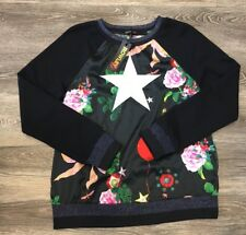 NEW Rowley Love Kit Womens Sweatshirt--Floral on Black Embroidered NWT Small
