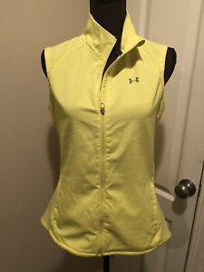 Under Armour Women's Light All Season Gear Yellow Vest Full Zip Running Size M